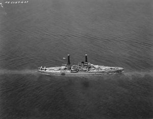 Nevada-class battleship - Aerial view of USS Nevada during a presidential naval review in Hampton Roads, Virginia, 4 June 1927