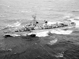 USS Purdy (DD-734) underway in Narragansett Bay in 1971