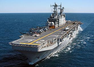 USS Saipan (LHA-2) - The USS Saipan (LHA-2) during Expeditionary Strike Group (ESG) integration training (2004).