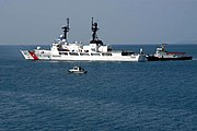 US Navy 060520-N-4104L-005 U.S. Coast Guard Cutter Sherman (WHEC 720) leaves the White Beach Naval Facility, Okinawa pier to begin its participation in exercise Southeast Asia Cooperation Against Terrorism (SEACAT) 2006