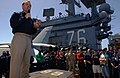 US Navy 060628-N-7526R-019 Commanding Officer, USS Ronald Reagan, Capt. Terry Kraft, speaks to Sailors prior to holding a steel beach picnic.jpg