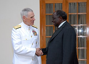 Mwai Kibaki - President Mwai Kibaki meets with Adm. William J. Fallon, Commander of U.S. Central Command