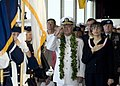 US Navy 071207-N-8623G-030 The Honorable Linda Lingle, Governor of Hawaii and Adm. Timothy J. Keating, Commander, U.S. Pacific Command, pay honors to the colors.jpg