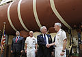 US Navy 100415-N-7676W-101 Rear Adm. David Titley, Oceanographer of the Navy, congratulates retired Capt. Don Walsh, the first commander of the U.S. Navy bathyscaph Trieste.jpg