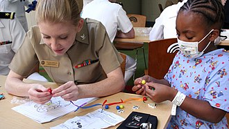 Rainbow Babies & Children's Hospital - Image: US Navy 100901 N 6220J 045 Yeoman 3rd Class Erin Anderson, assigned to Navy Operational Support Center, Akron, helps a patient at the Rainbow Babies ^ Children's Hospital assemble a necklace