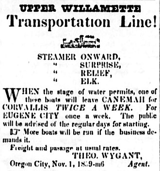 Elk (sternwheeler 1857) - Advertisement for steamers of the Upper Willamette Transportation Line, placed January 21, 1860.