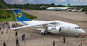 Ukraine International Airlines Antonov An-148-100B Belyakov cropped.jpg