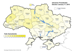 Yulia Tymoshenko (First round) – percentage of total national vote (25.05%)