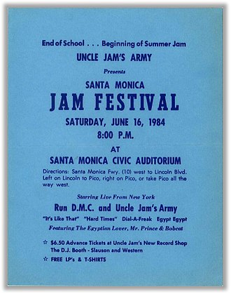 Uncle Jamm's Army - A poster for an Uncle Jamm's Army concert with Run-DMC in 1984