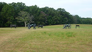 Henry House Hill - Two Union Howitzers placed in the flanking position which they held during the Battle of First Bull Run.