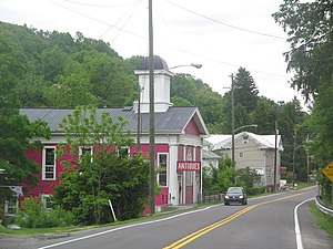 Unionville, Centre County, Pennsylvania - Looking northeast into Unionville along ALT US 220