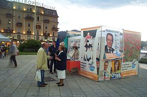 The Olive Tree (Italy) - A street stall during the campaign for the European Parliament election in Como