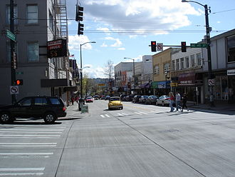 The Ave - University Way southbound from its intersection with NE 45th Street