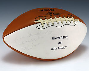 Kentucky Wildcats football - A football signed by Kentucky head coach Fran Curci and gifted to President Gerald Ford.