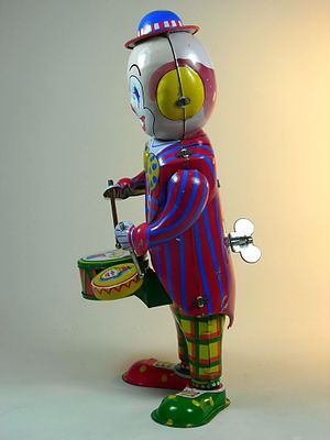 Wind-up toy - A wind-up toy clown, the winding key being visible on the toy's back