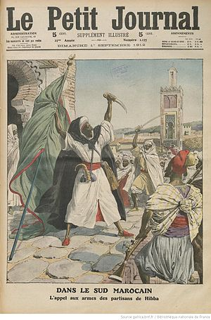 Battle of Sidi Bou Othman - Call to arms by al-Hiba's partisans, as illustrated by the French peridiocal Le Petit Journal, 1 September 1912
