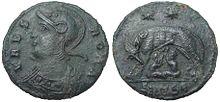 Moneda antigua conmemorativa de Constantinopla