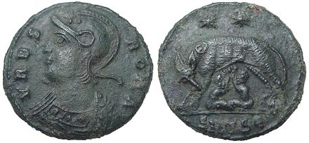 Another coin struck by Constantine I in 330-333 to commemorate the foundation of Constantinople and to also reaffirm Rome as the traditional centre of the Roman Empire. Urbs Roma, commemorative coin of Constantinople.jpg