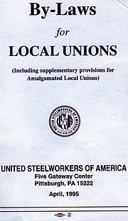 Cover of guideline document by United Steelworkers to form the basis of by-laws that may be adopted by a local union.
