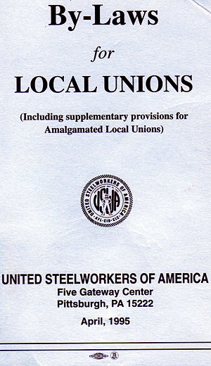 By-law - Cover of guideline document by United Steelworkers to form the basis of by-laws that may be adopted by a local union