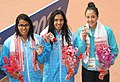 V. Malvika (INDIA) won Gold Medal, Shivani Kataria (INDIA) won Silver Medal and Gaurika Singh (NEPAL) won Bronze Medal, in the Women's swimming 400m Freestyle category, at the 12th South Asian Games-2016, in Guwahati.jpg