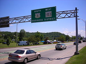 Vermont Route 105 - VT 105 and US 5 approaching downtown Newport