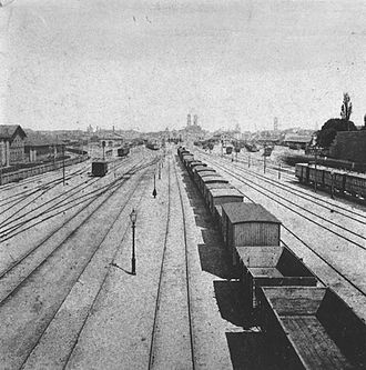 München Hauptbahnhof - View of the station tracks from Hackerbrücke, 1870
