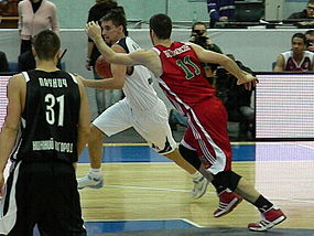 Valeri Likhodei vs Mike Wilkinson at all-star PBL game 2011.JPG