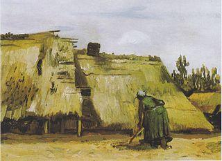 Une paysanne creusant devant son chalet