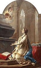 Sainte Clotilde en prière au pied du tombeau de saint Martin