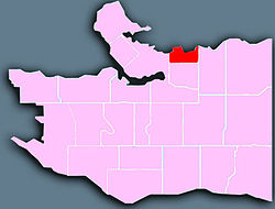 Location of the Downtown Eastside (in red) in Vancouver.