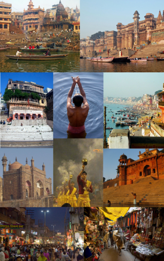 Varanasi - Clockwise from top: Manikarnika Ghat, Dashashwamedha Ghat, Lal Bahadur Shastri International Airport, Tibetan Temple in Sarnath, Banaras Hindu University, Kashi Vishwanath Temple