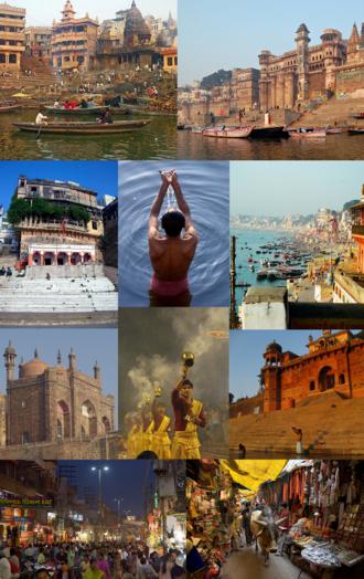 Varanasi - Clockwise from top: Manikarnika Ghat, Dashashwamedha Ghat, Lal Bahadur Shastri International Airport, Tibetan Temple in Sarnath, Banaras Hindu University, Kashi Vishwanath Temple