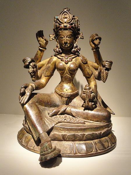 File:Vasudhara, Goddess of Abundance, view 1, Nepal, 1082 AD, gilded copper inlaid with semiprecious stones, traces of vermilion - Arthur M. Sackler Gallery - DSC06033.JPG