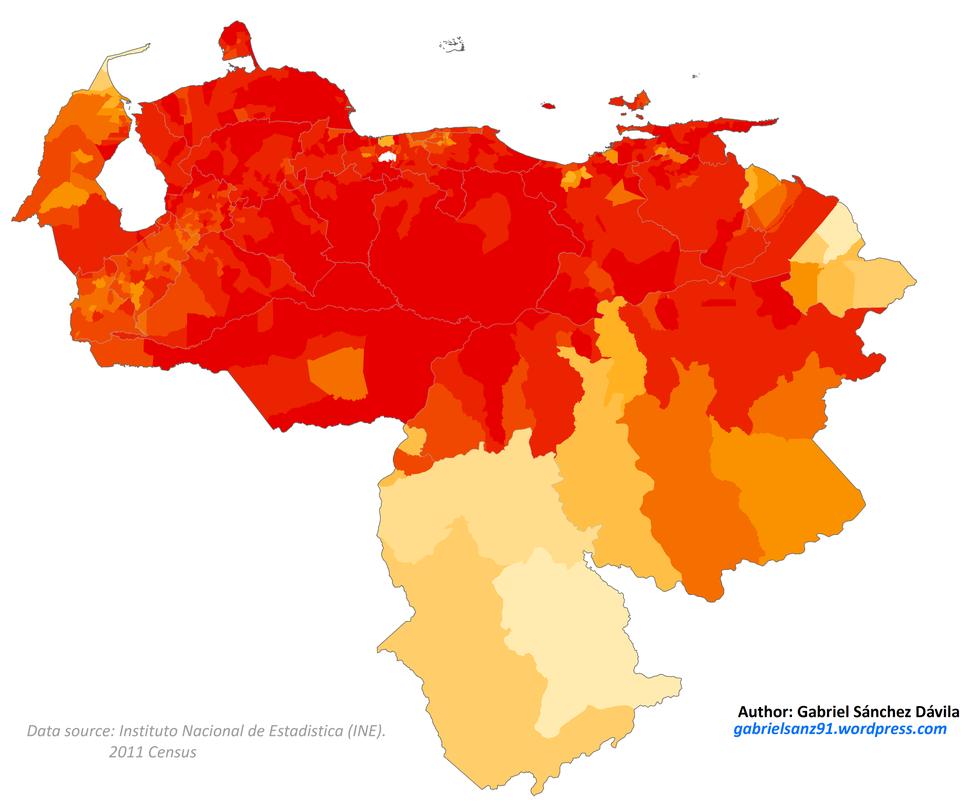 Venezuela 2011 Moreno (Brown) population proportion map
