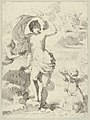 Venus stepping out of the sea, holding a billowing drapery in her left hand, Cupid at right offering pearls while riding a dolphin and a putto at left offering flowers, another in the clouds MET DP841758.jpg