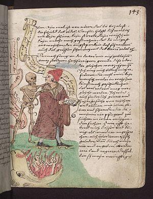 Pierre Desrey - Page from the Vergänglichkeitsbuch of Wilhelm Werner, a translation of the Visio Heremitae by Pierre Desrey