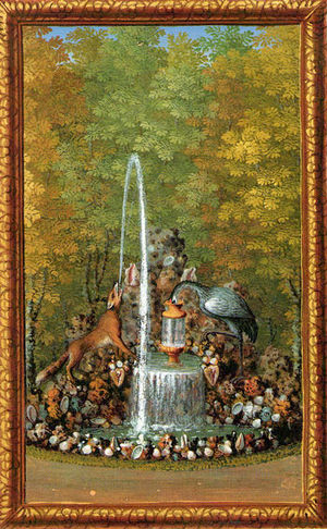 The labyrinth of Versailles - The fable of the Fox and the Crane, from Jacques Bailly's Le Labyrinthe de Versailles