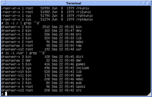 "Unix filesystem - Version 7 Unix filesystem layout: subdirectories of ""/"" and ""/usr"""