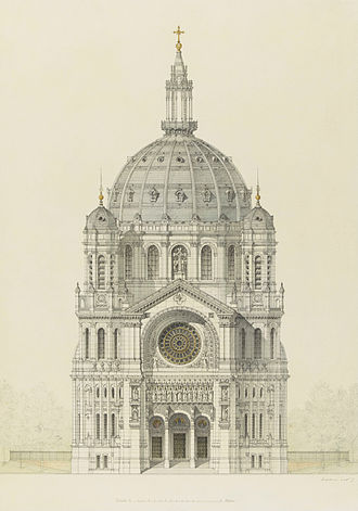 Victor Baltard - Drawing of the main facade of the Church of Saint Augustin, Paris