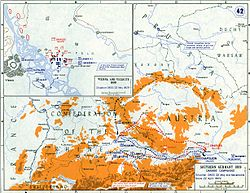 Closeup map of Austria showing French and Austrian armies close to each other.