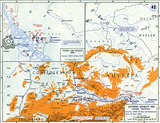 War of the Fifth Coalition - The strategic situation and the Battle of Aspern-Essling on 22 May 1809.