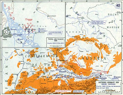 The strategic situation and the Battle of Aspern-Essling on 22 May 1809. Vienna and vicinity, 22 May 1809.jpg