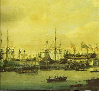 Deptford Wharf - Image: View from Dudman's Dockyard Deptford by John Cleveley, 1774