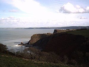 Windbury Head - The view from Windbury Hillfort with part of the fort in the left foreground