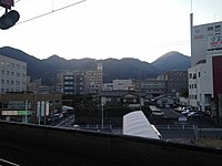 View from platform of Beppu Station at dusk (west).JPG