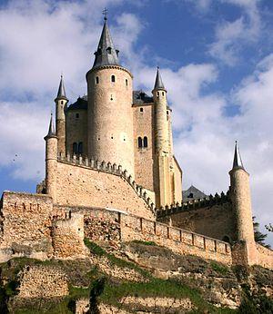 English: View of the Alcazar, Segovia, Spain. ...