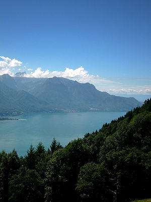 Lake Geneva - View of the lake and the Chablais Alps from Caux