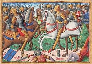Darstellung der Schlacht von Baugé als Buchmalerei aus dem Vigiles du roi Charles VII von Martial d'Auvergne (15. Jahrhundert)