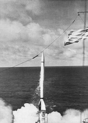 Viking (rocket) - Viking 4 is launched from the USS ''Norton Sound'' at sea, 11 May 1950